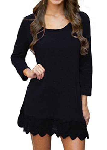 POZON Women's Long Sleeve A-line Lace Stitching Trim Casual Dress