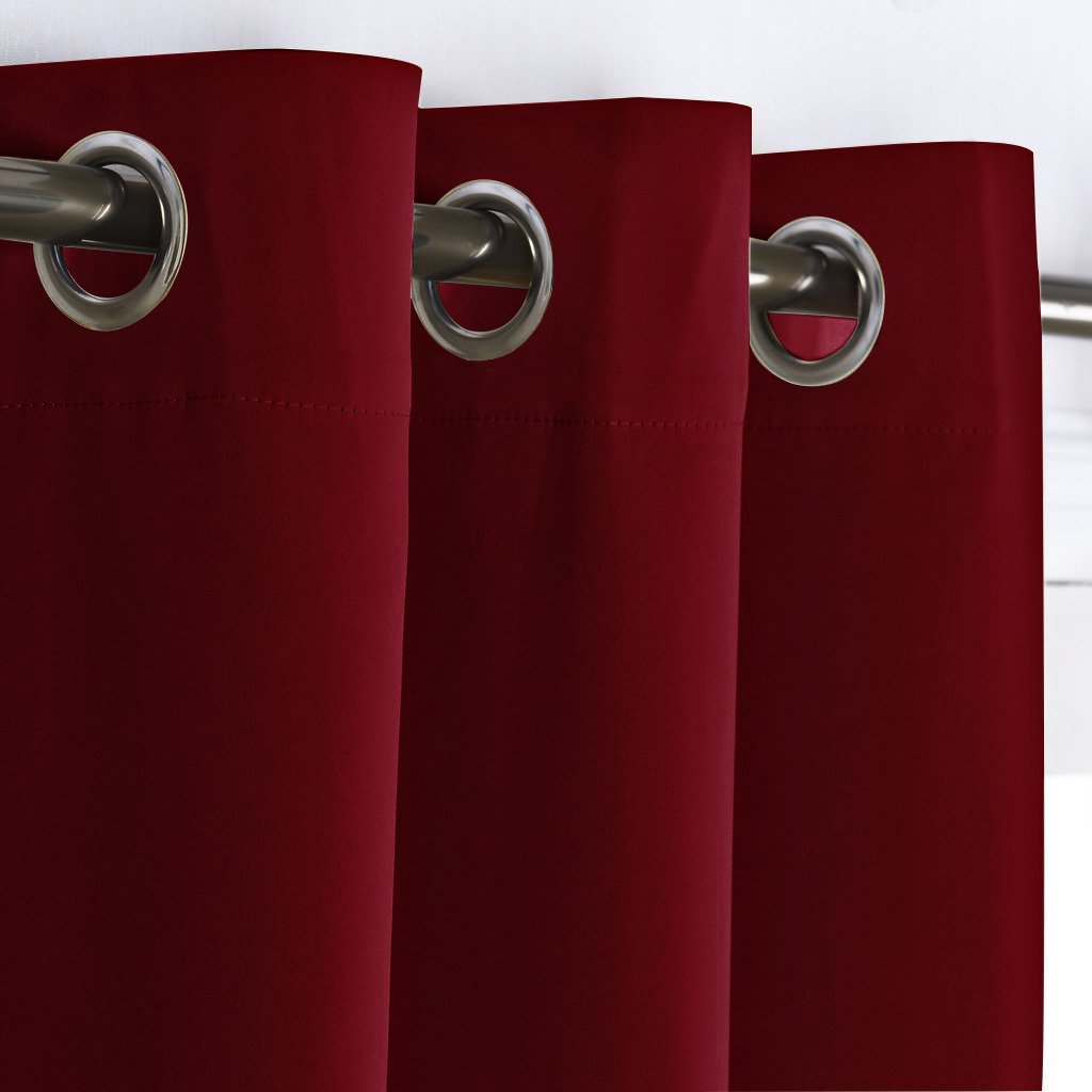 Room Darkening Blackout Burgundy Red Home Decor Energy Smart Thermal Insulated Window Treatment