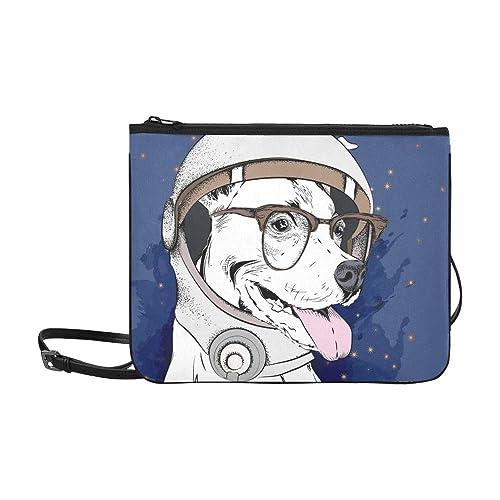 AGIRL Perro de dibujos animados Astronautas Traje espacial Personaje Personalizado Nylon de alto grado Bolso de embrague delgado Bolso cruzado Bolso ...