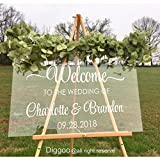 Custom Wedding Sign Welcome Wedding Decal Vinyl Handmade Decor For Display Clear Glass Look Acrylic (16.5''h x 26''w PLUS FREE WELCOME DOOR DECAL)