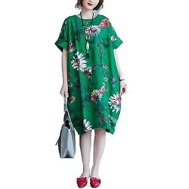 680cc646cb4 Dinier Women s Cotton Linen Floral Loose Fit Plus Size Knee-Lenth Shirt  Dress Green