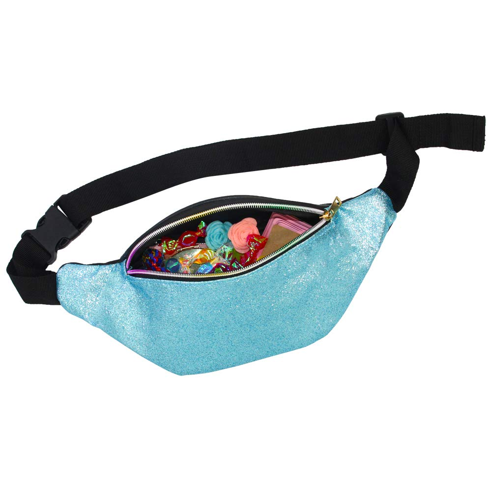 dabdb67c190 QtGirl Fanny Pack for Kids, Glitter Waist Bag Shiny Bags with Adjustable  Belt for Children Sport Running, Camping, Trip