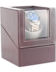 Automatic Watch Winder Box for 1 Wristwatch Waterproof Leather Watches Winding Case Ultra-Quiet Rotation TPD: 650-1850 Turns Per Day