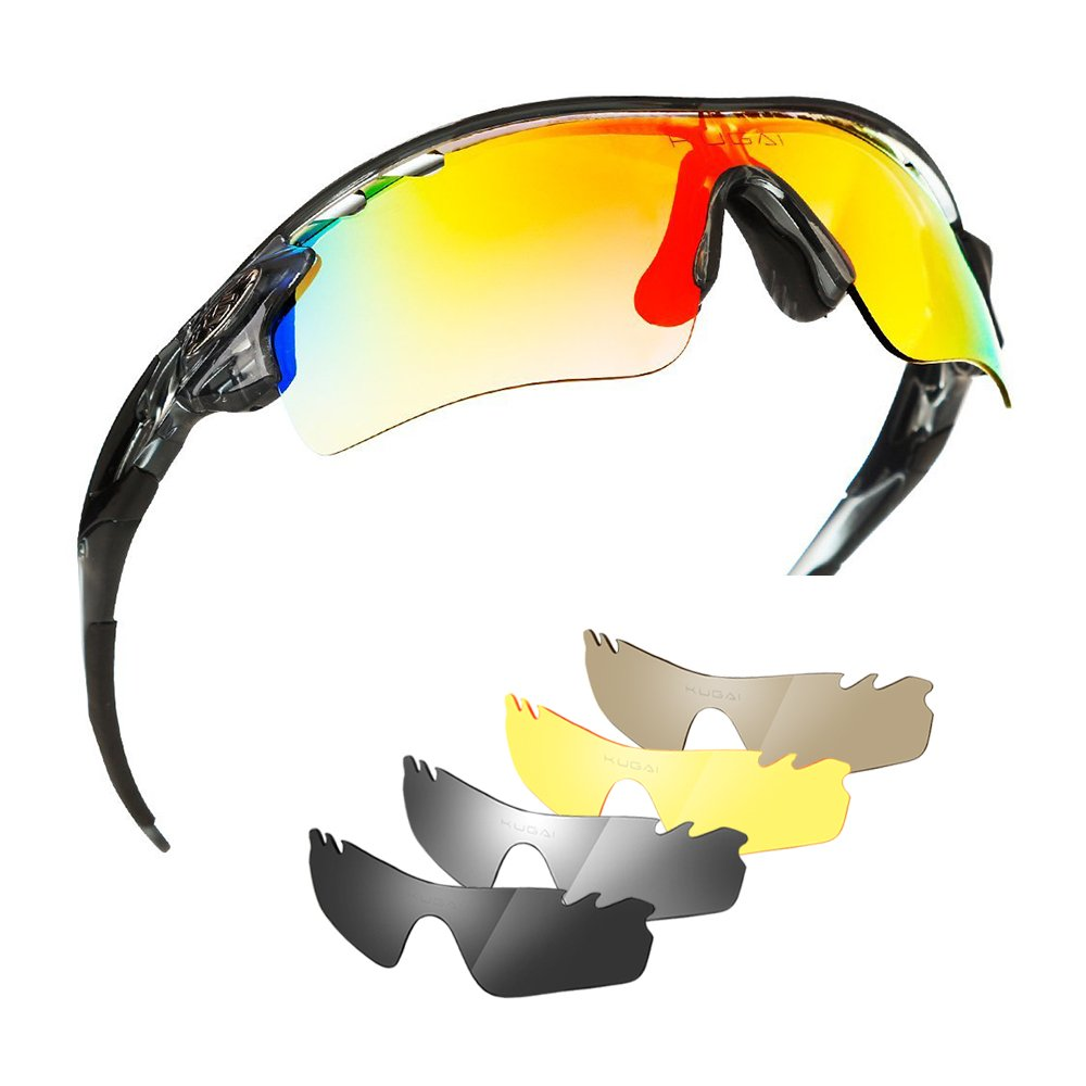 Polarized Sports Glasses Bike Sunglasses for Men Women Youth Cycling Running Driving Fishing Golf Baseball with 5 Interchangeable Lenses