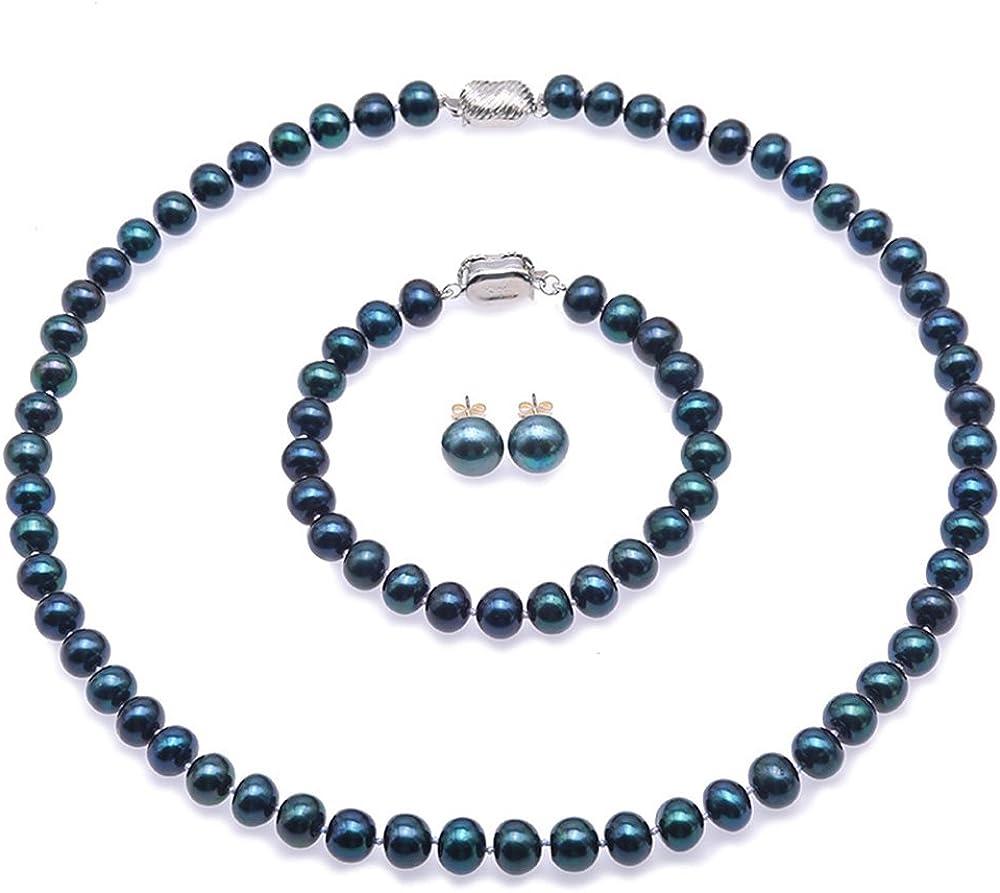 JYX Conjunto de Collar de Perlas Conjunto de Collar, Pulsera y Pendientes de Perlas cultivadas de Agua Dulce Azul Marino de 8-8.5 mm