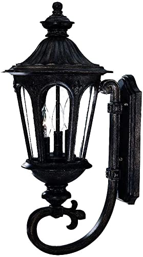 Acclaim 61561BC Marietta Collection 3-Light Wall Mount Outdoor Light Fixture, Black Coral