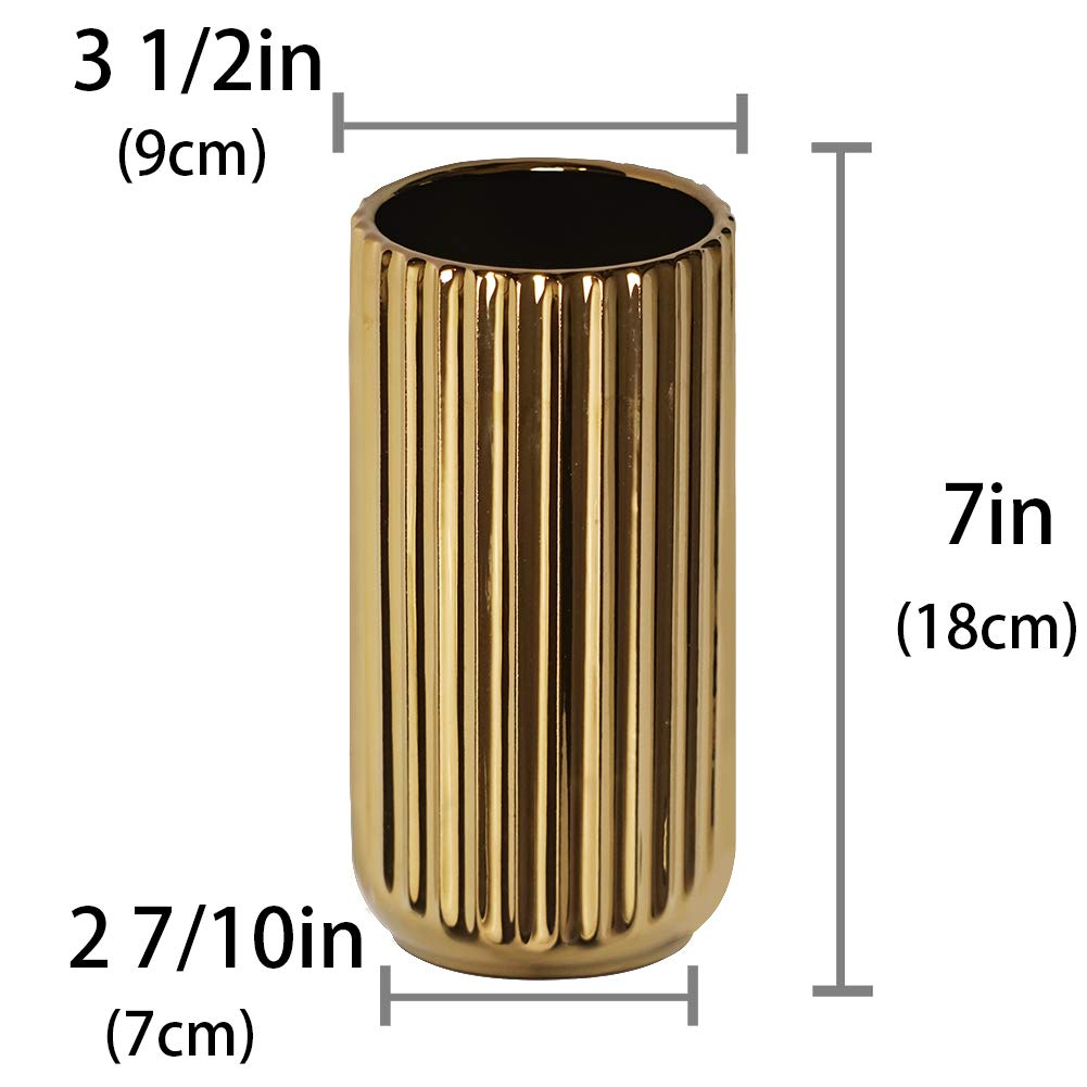 7 inch Gold Ceramic Flower Vase Home Decor Vase and Table Centerpieces Vase Ideal Gifts for Friends and Family Bridal Shower Christmas Wedding