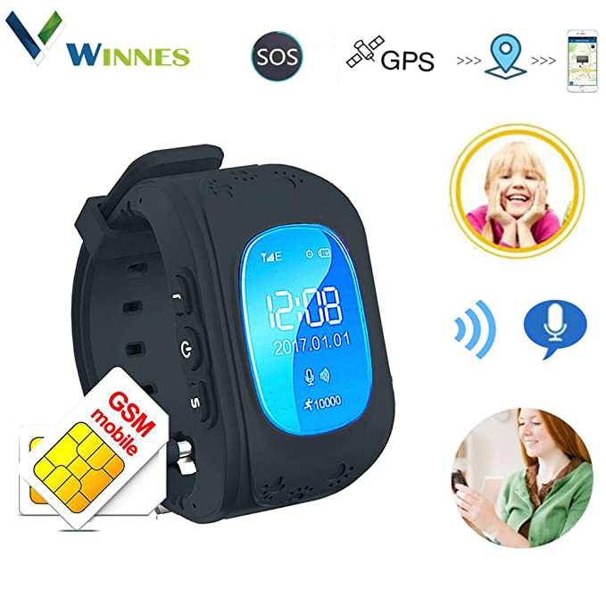 Waterproof Kids Smart Watch by Winnes with GPS Tracker SIM Card Phone Watch Anti-Lost Alarm Function Gift for Boys and Girls (Black)
