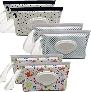 Portable Wet Wipe Pouch Reusable & Refillable Baby Wipes Dispenser, Eco Friendly and Lightweight Handy Travel Diaper Wipes Carrying Case Holder | Keeps Wet Wipes Moist (6 Pack)