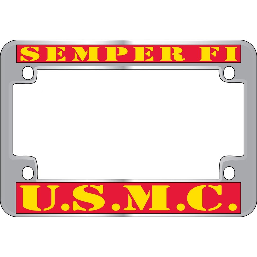 US Armed Forces Military Metal Motorcycle License Plate Frame - United States Marine Corps ''Semper Fi'' USMC