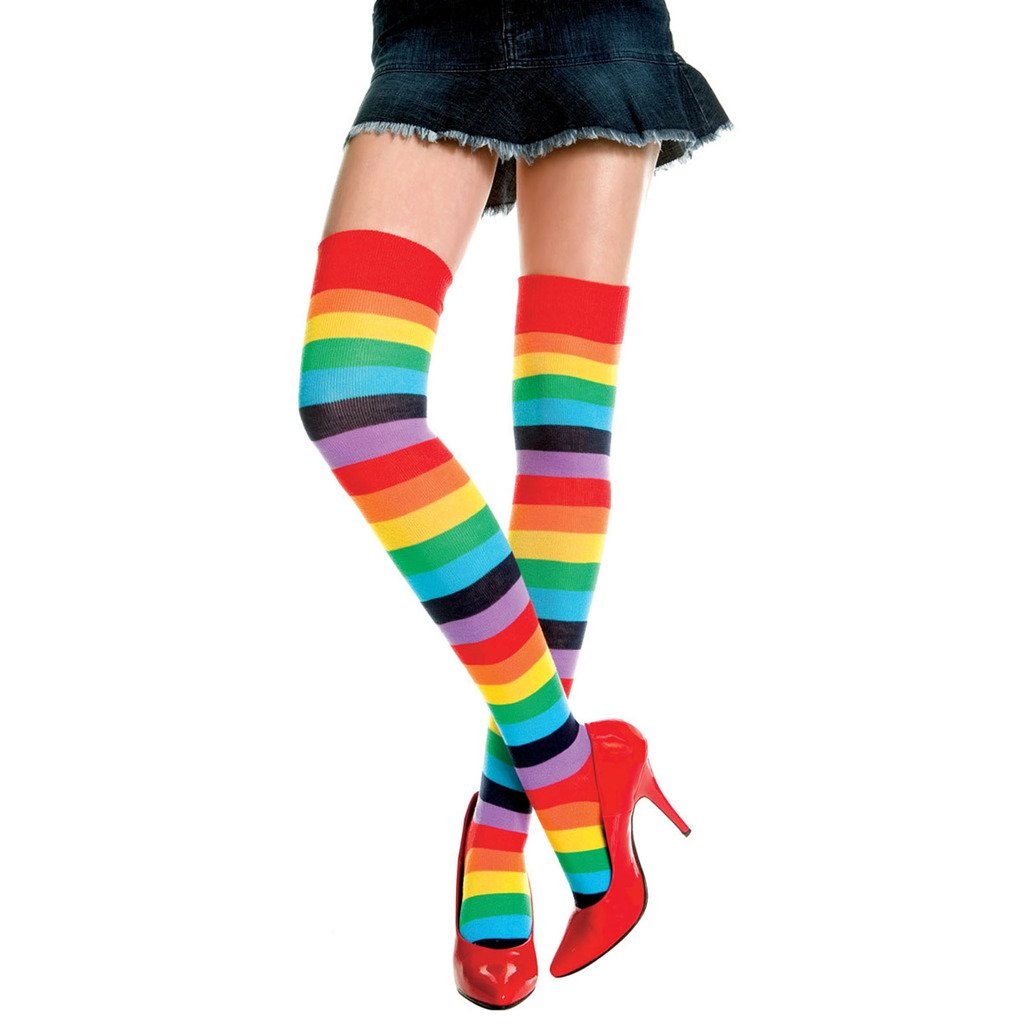 HuntGold 1X Women Girl RainbowColor Stripe Stitching Long Sock Above Knee Stocking Leg Tight