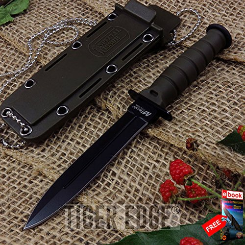 "6"" Mtech Special Issue Green Double Edge Military Dagger Neck Knife razor sharp + FREE eBOOK by MOON KNIVES!"