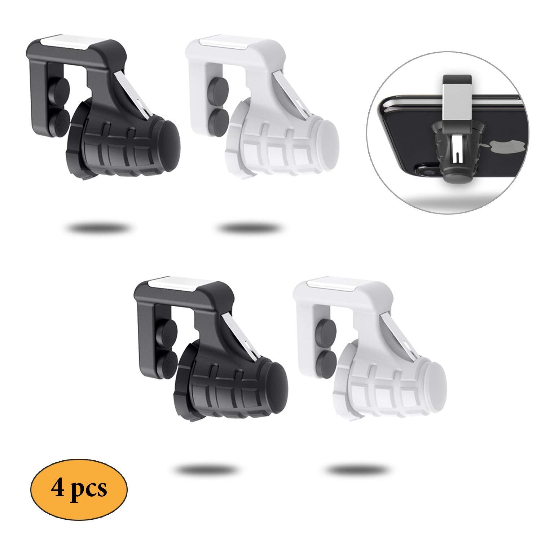 Newseego Controller per Giochi Portatili, 2 Coppie Trigger del Telefono Sensitive Induction Shoot Fire Aim Buttons Sparare a Game Tool per PUBG/Fornite / Survivor/Royale (Trigger Nero + Bianco 4)