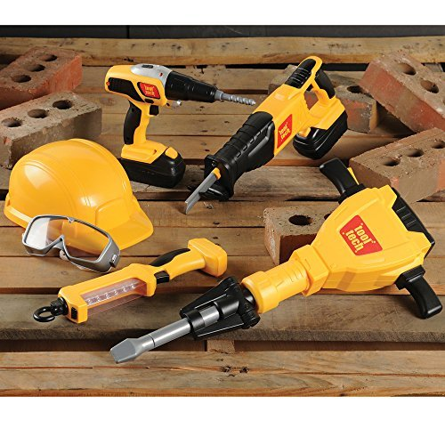 CP Toy 10 pc. Pretend Play Heavy Construction Tools with Realistic Sounds and Action