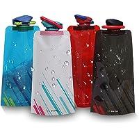 CoWalkers Botellas de Agua Plegables para el Medio Ambiente Botella de Agua Plegable Hidromasaje portátil para Senderismo,Montando,Viajar, Correr, Escalar con Tapa a Prueba de Fugas 700 ml (4 Pcs)