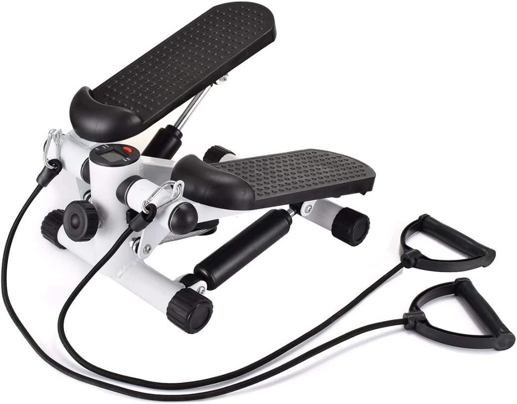 Mini LCD Display Twist Stepper Exercise /& Arm Cords Stair Climber Fitness Swing
