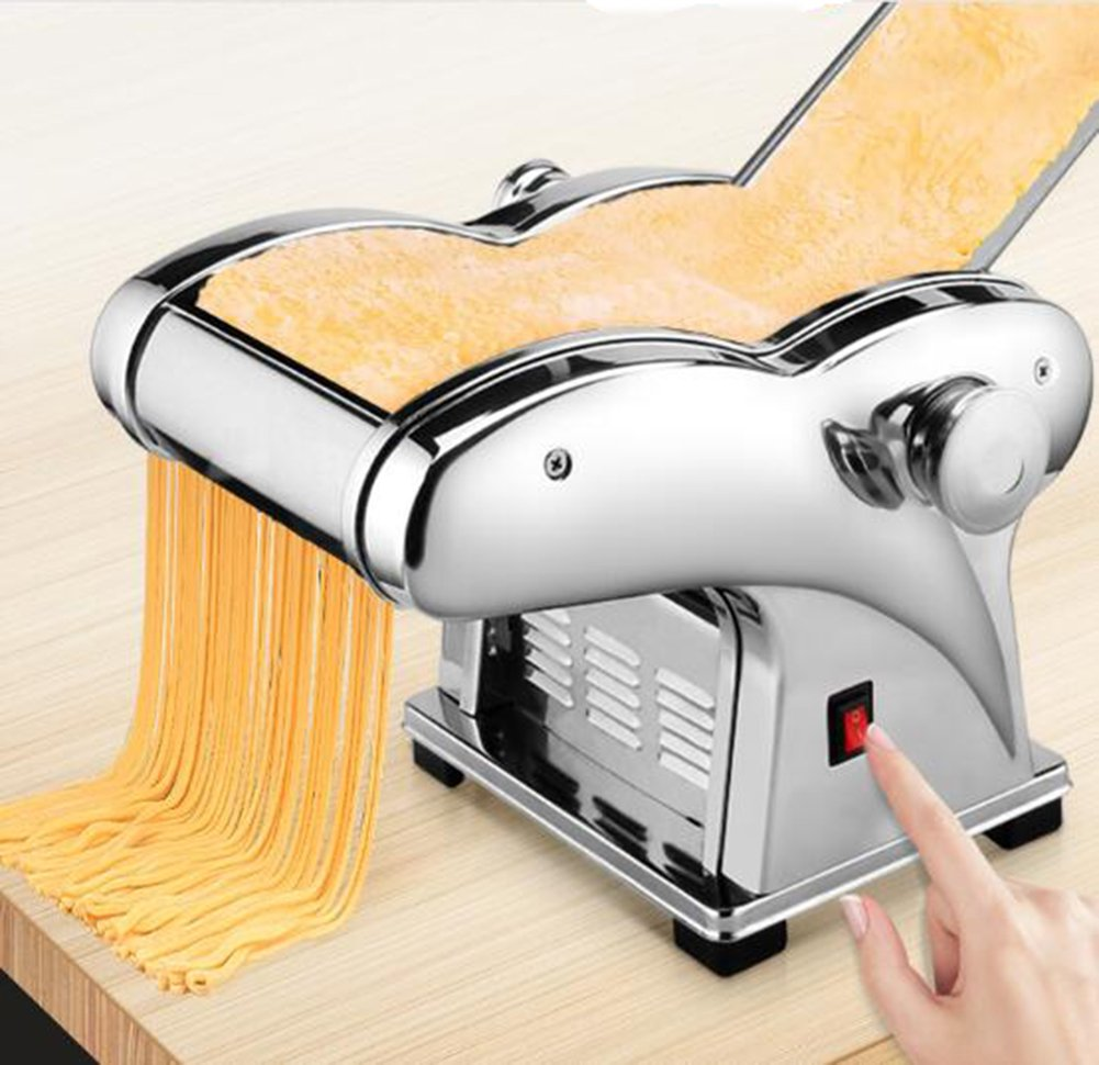 Pasta Maker, 110V Electric Noodle Press Machine Spaghetti Pasta Maker Commercial Stainless Steel Dough Cutter Dumplings Roller Noodles Hanger,6 Speed Adjustable Thickness Setting (2 Noodle Knife)
