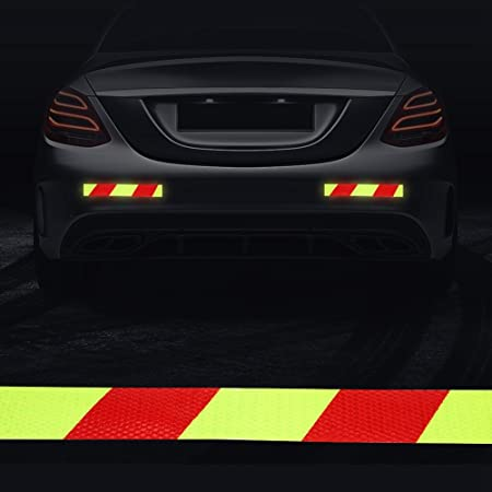 Cuque 5Pcs Self-adhesive Car Reflective Warning Decal Caution Warning Safety Reflector Strips Sticker Fluorescent Reflective Car Decals