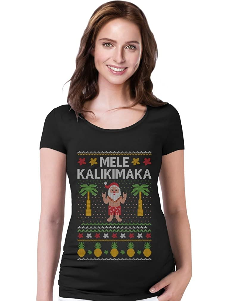TeeStars - Mele Kalikimaka Hawaiian Santa Ugly Christmas Maternity Shirt GMPlhaagWuPlWu9HB