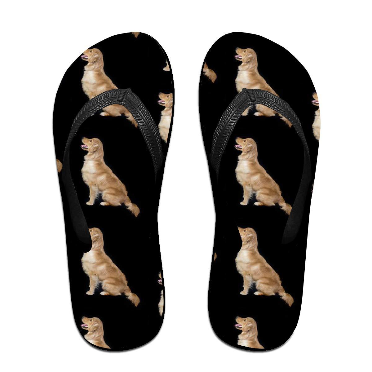 Golden Retriever Mens and Womens Light Weight Shock Proof Summer Beach Slippers Flip Flops Sandals