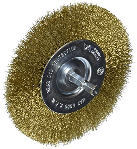 Brush Brass Wheel - Vermont American 16794 4-Inch Fine Brass Wire Wheel Brush with 1/4-Inch Hex Shank for Drill