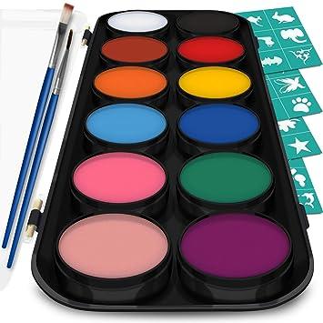 Korperfarbe Set 12 Farben Schminkpalette 36 Schablonen 2 Berufs