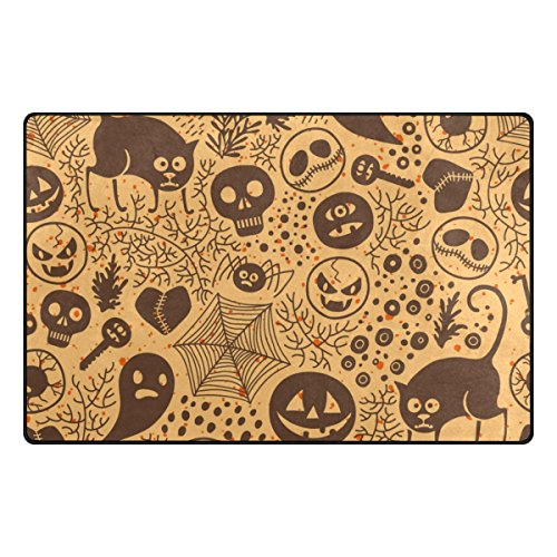 Cooper girl Halloween Doodle Vintage Decorative Area Rug Mat Anti Skid Carpet for Living Dining Room Bedroom 31x20/60x39 Inches by Cooper girl