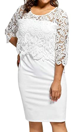 580319b16e ARTFFEL Women Plus Size Slim Fit 3/4 Sleeve Lace Stitch Party Bodycon Midi  Pencil Dress at Amazon Women's Clothing store: