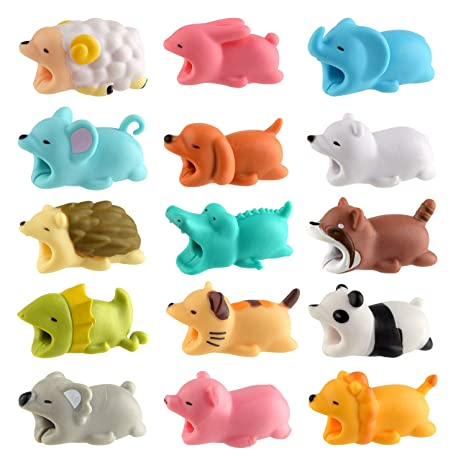 TUPARKA 15 PCS Cable Protector Cute Animals Cable Bites Cargador Protector de cable Cable de carga USB Protector Compatible con iPhone/Android (15 ...