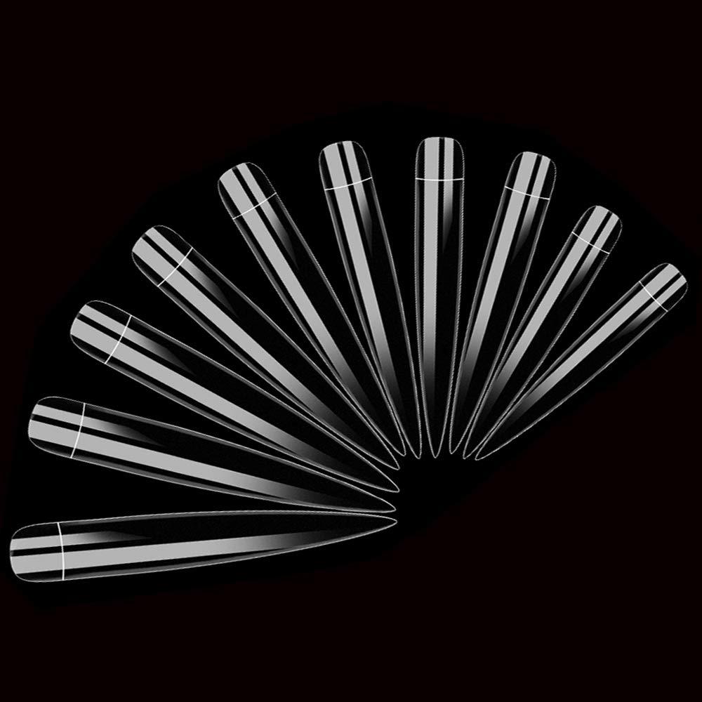 AORAEM Stiletto False Nail Clear Extra Long Sharp Nail Art Tips 12 Sizes 120 Pcs Acrylic Fake Nail (Clear Long Nail): Beauty