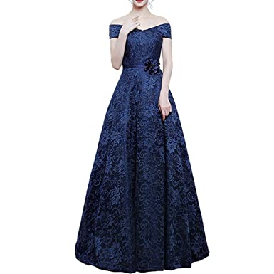 nymph Womens Off The Shoulder Flower Sashes Lace Evening Dresses Long Navy Blue 8