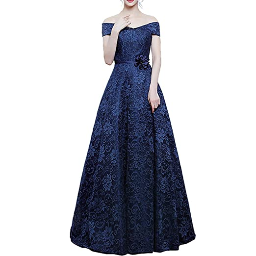 nymph Womens Off The Shoulder Flower Sashes Lace Evening Dresses Long: Amazon.co.uk: Clothing
