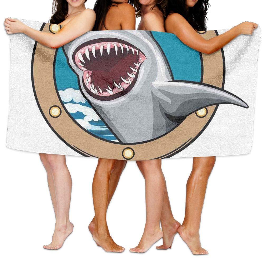 Haixia Super Soft Bath Towel Beach/Bath/Pool Towel 51.2'' X 31.5'' Sea Animal Decor Funny Vintage Quote with Hungry Hound Shark Head in Ship Window Humor Print Multi