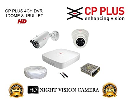 CP PLUS 2 HD CCTV Cameras (1MP) with 4Ch  HD DVR Kit with All Accessories