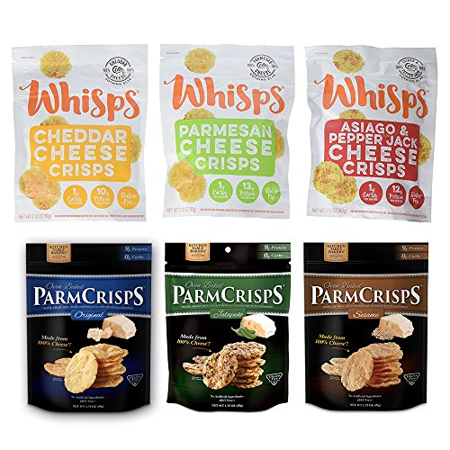 Cheap Cello Whisps & Kitchen Table Bakers ParmCrisp Assortment Bundle, 6 Bags, Low Carb, Keto Snacks, 100% Cheese