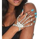 Homedeco Skull Fingers Metal Skeleton Bracelet Ring Hip Hop Street Dancing Cosplay Wristband