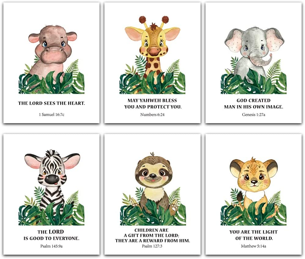 FaCraft Nursery Decor,Set of 6 Baby Safari Animals Wall Art Prints with Bible Verses,Christian Wall Art for Baby Boy Girl Room Jungle Nursery Decor,8x10inch -Unframe