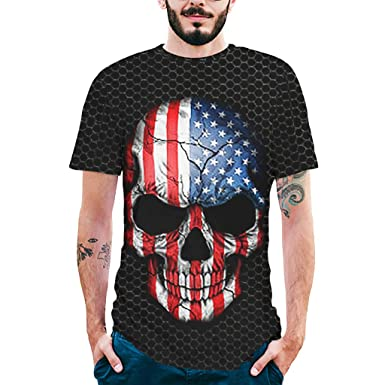 Dream_mimi Mens Splash-Ink 3D Printed Tee Skull Shirt Short Sleeve T-Shirt Blouse