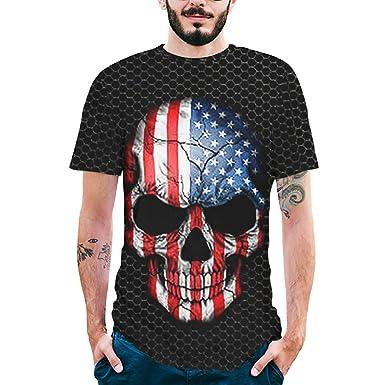 Dream_mimi Mens Splash-Ink 3D Printed Tee Skull Shirt Short Sleeve T-Shirt Blouse