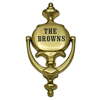 Beautiful Prestige Plaques Personalized Door Knocker, Polished Brass, Engraved,  8.5u0026quot; ...