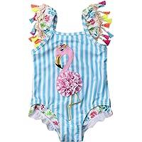 Toddler Kids Baby Girls Flamingo Bikini Swimwear One Piece Swimsuit Bathing Suit Strap Tassels Ruffle Beachwear