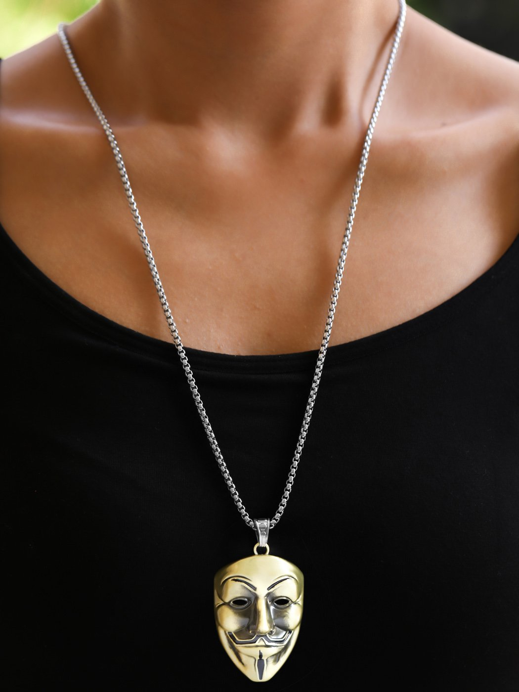 Artio Mask Pendant Necklace Jewelry for Men and Women (Bronze)