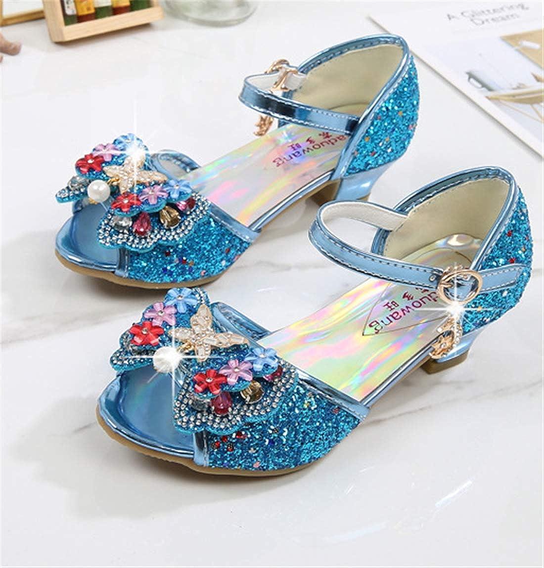 BBSMYA Sandales Fille Chaussure de Princesse /à Talon Ballerie Argent/é Dor/é Chaussure de Soir/ée F/ête Enfant avec Paillette Noeud