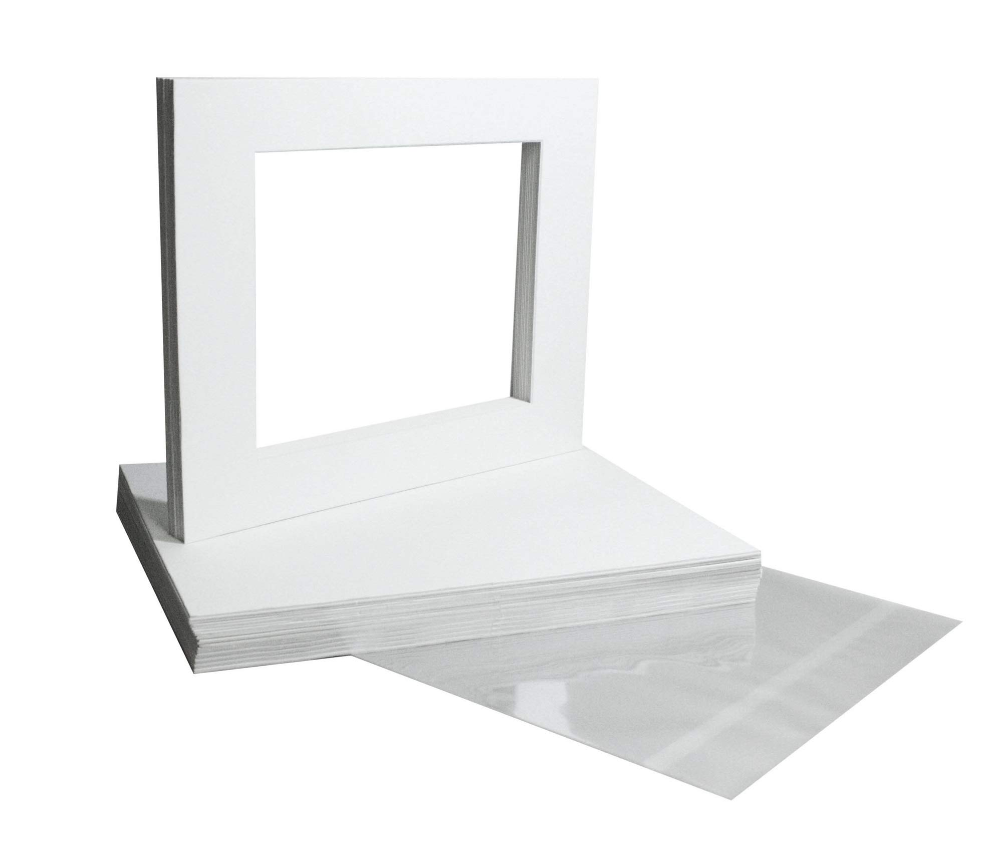 Golden State Art, Pack of 20 White Pre-cut 11x14 Picture Mat for 8.5x11 Photo with White Core Matte Sets. Includes 20 High Premier Acid Free Bevel Cut Mattes & 20 Backing Backers Board & 20 Clear Bags