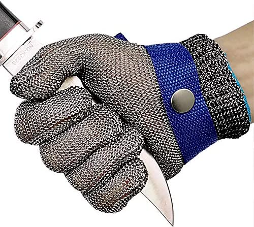 Cut Resistant Gloves Stainless Steel Wire Metal Mesh Butcher Safety Work Gloves for Cutting, Slicing