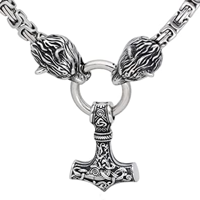 Guoshuang Stainless Steel Wolf Head With Thor Hammer Mjolnir