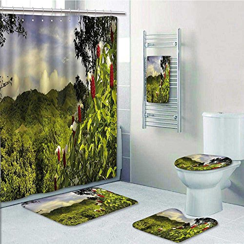 vanfan designer bath polyester 5 piece bathroom set rural scenery rh institutofilipposmaldone com br