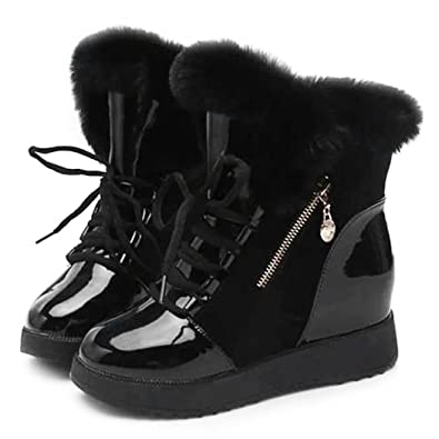 5be1ca17a058f eshion Womens Winter Warm Lace Up Ankle Snow Boot Flat Heel Fleece Lined