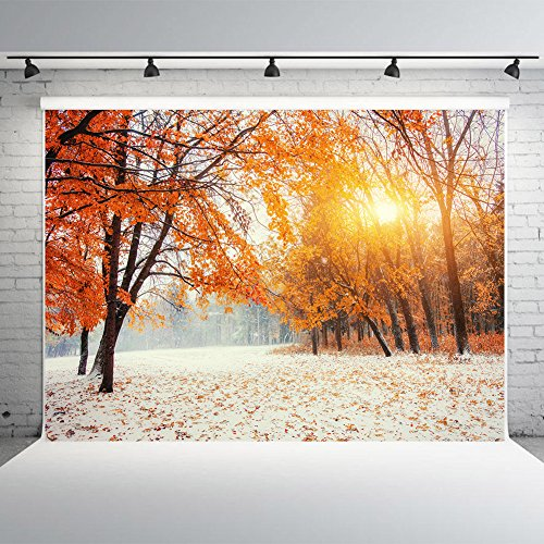 Winter Leaves Photography Backdrops Autumn Mountain Beech Forest Photographic Studio Photo Backgrounds Vinyl Happy New Year Decorations 7x5ft ()