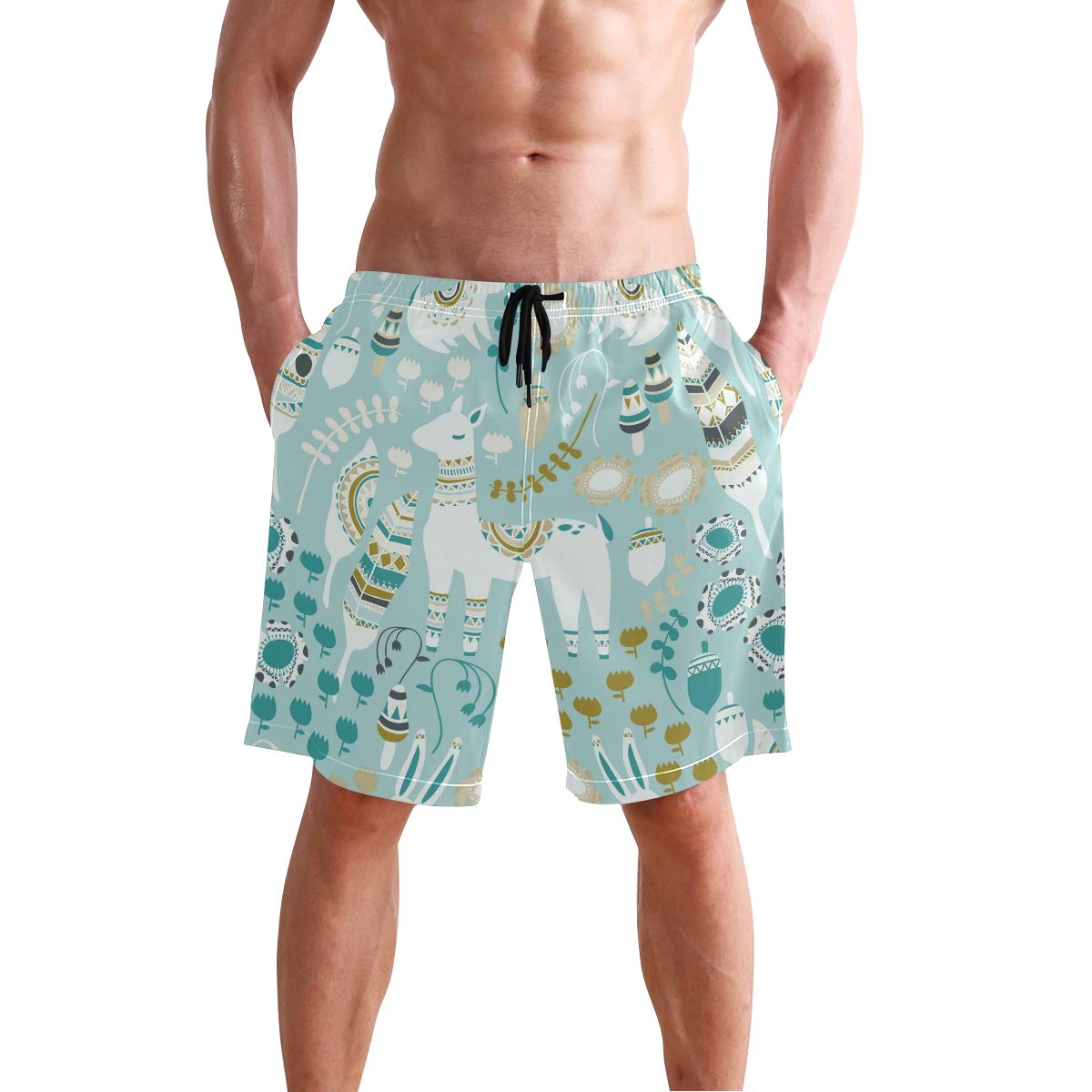 CiCily Men/'s Swim Trunks Feather Goat Beach Board Shorts Swimming Short Pants Running Sports Surffing Shorts